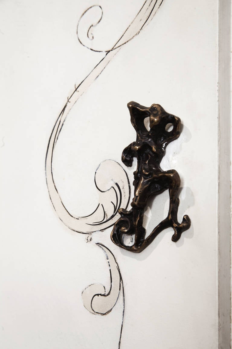 Mid-20th Century Unique Lucio Fontana Pair of Painted White Doors for Borsani, Bronze Handles For Sale