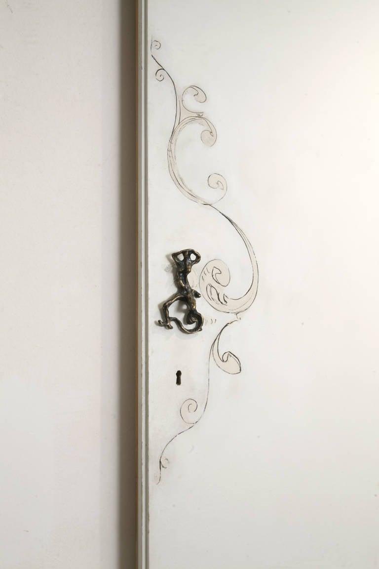 Brass Unique Lucio Fontana Pair of Painted White Doors for Borsani, Bronze Handles For Sale
