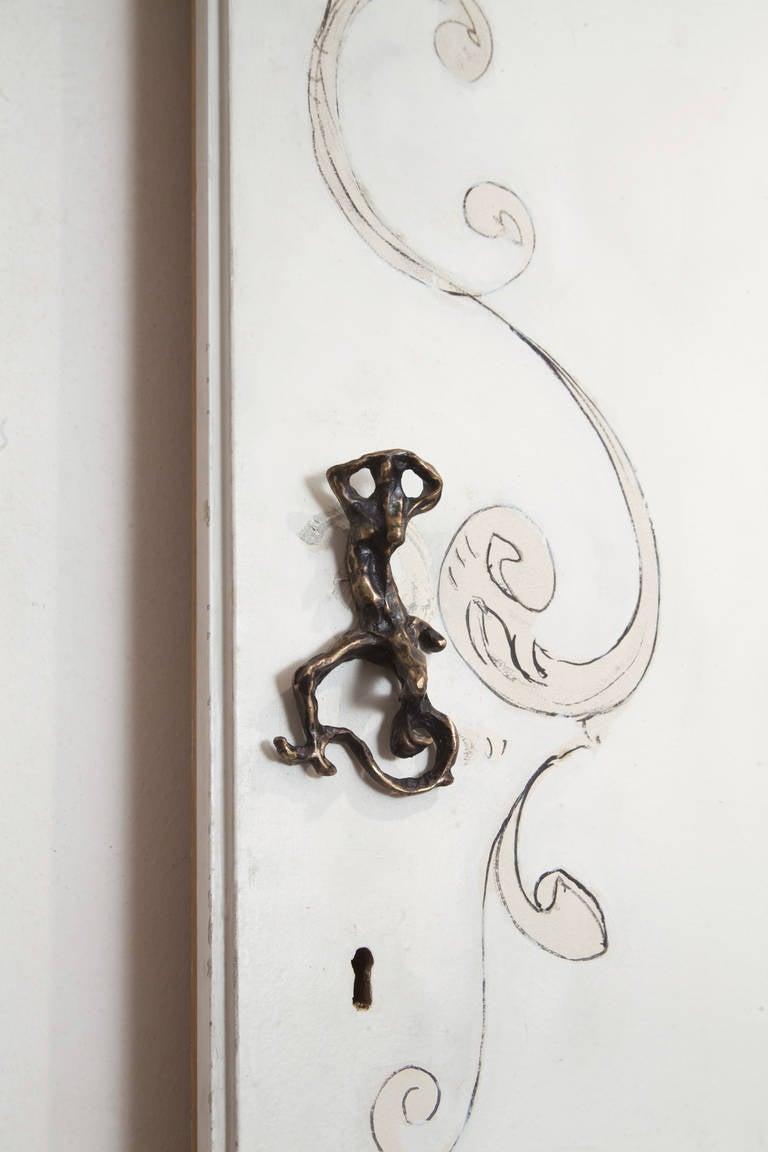 Unique Lucio Fontana Pair of Painted White Doors for Borsani, Bronze Handles For Sale 1