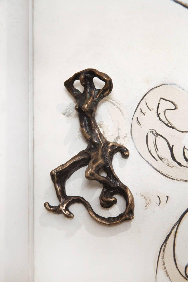 Unique Lucio Fontana Pair of Painted White Doors for Borsani, Bronze Handles For Sale 2