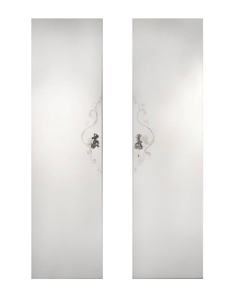 Italian Unique Lucio Fontana Pair of Painted White Doors for Borsani, Bronze Handles For Sale