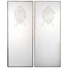 "Important and Rare Pair of Lucio Fontana Painted Panels Entitled,""Battle"""