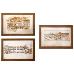"""Set of Three Important Maurizio Tempestini Watercolors """"Forte dei Marmi,"""" 1939"""