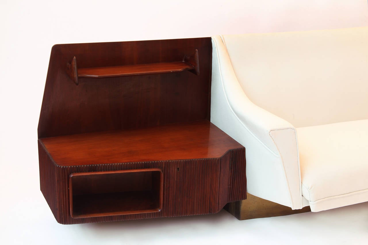 Italian Important Wall Unit, Large Curved Sofa and Mahogany Shelfs by Dassi, 1940 For Sale