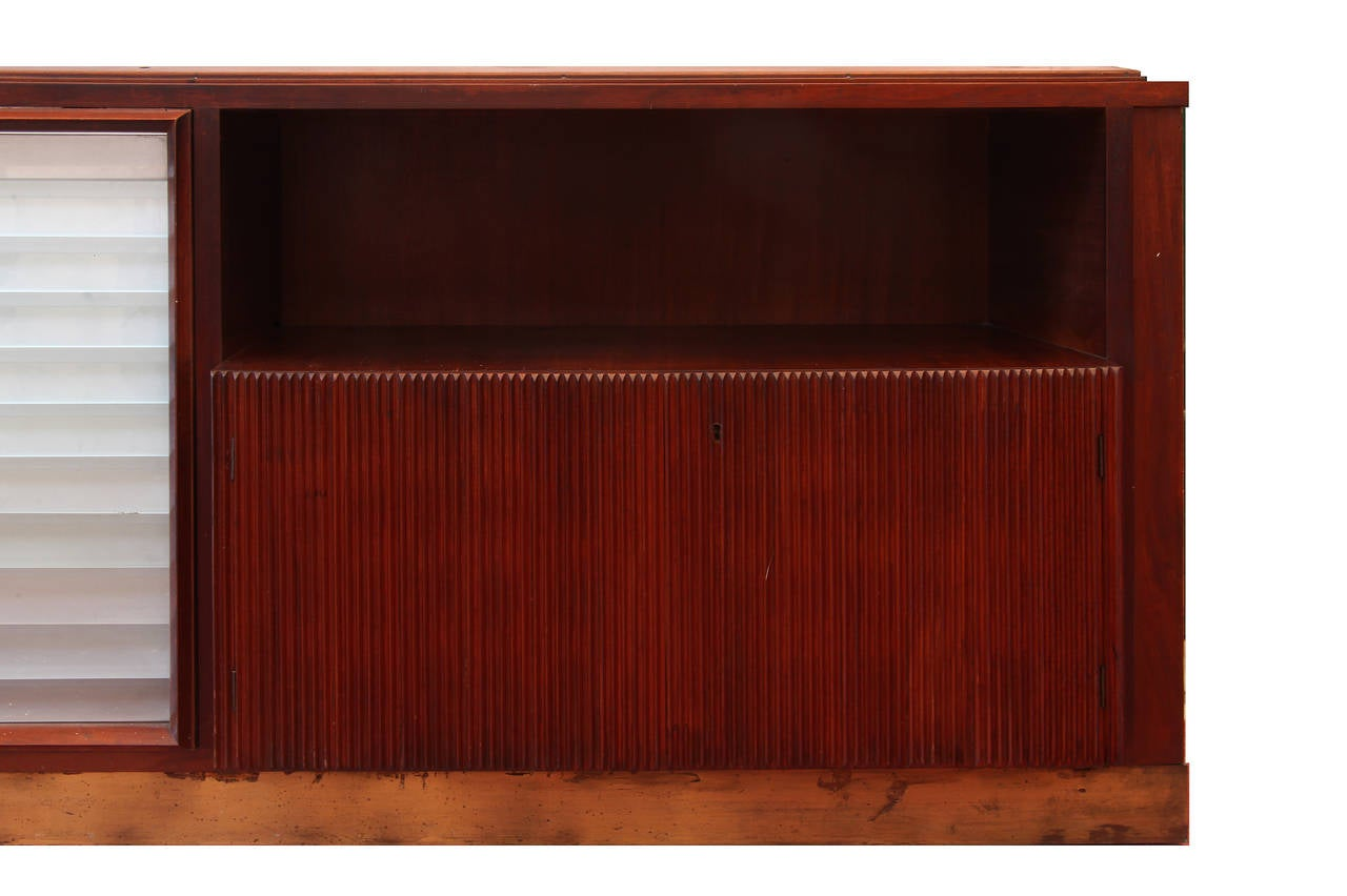 Italian Large Mahogany And Glass Wall Unit Bookcase By Dassi 1940