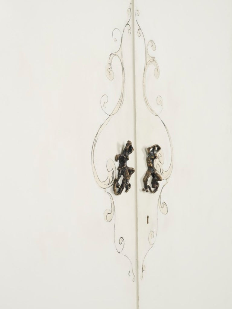 Important unique pair of big doors painted by Lucio Fontana in 1952, with sculptured bronze handles produced for Osvaldo Borsani Baroque decoration painted with original bronze handles  Mixed-media on painted wood. Unique piece Lacquered wood,