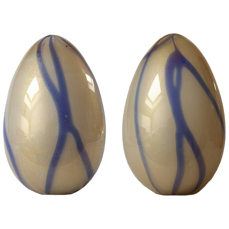 "Pair of ""Concetto Spaziale"" Glass Eggs by Archimede Seguso, Murano"