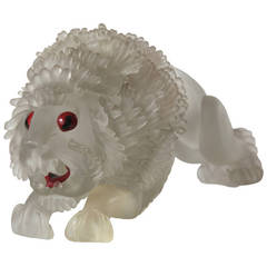 Extremely Rare Flavio Poli Glass Lion, 1930