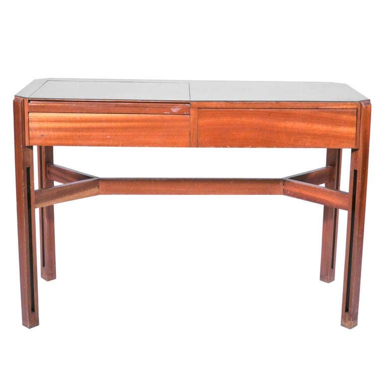 Ico and Luisa Parisi Mahogany wood and Laminate Glass Italian desk. 1959