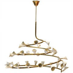 "Extraordinary Large and Rare Gino Sarfatti Chandelier, Model ""2040,"" 1948"