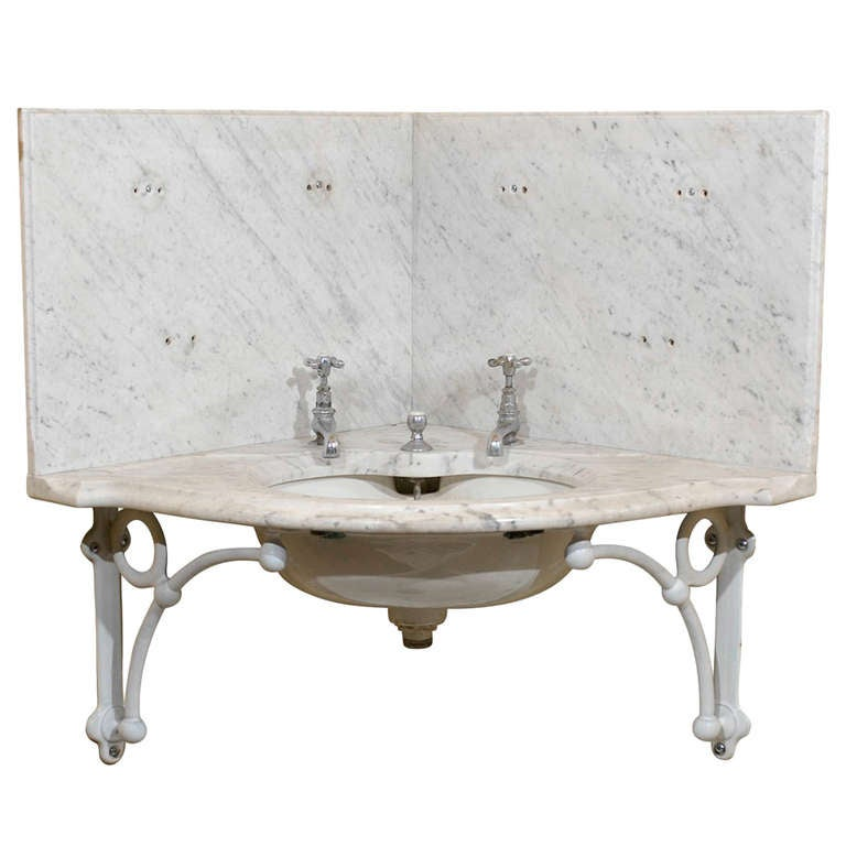 english bathroom fixtures 19th c marble corner sink with fixtures at 1stdibs 12784