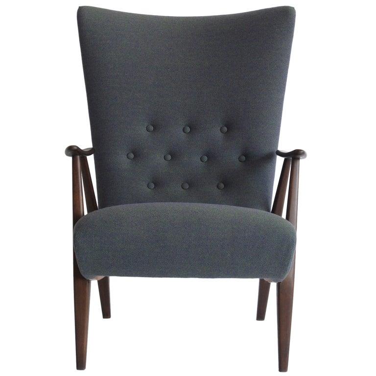 Purple print chair - Scandinavian Modern Highback Lounge Chair At 1stdibs