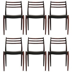 N.O. Moller Model 78 Rosewood Dining Chairs