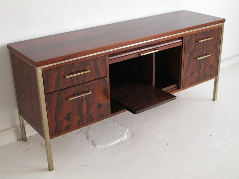 Mid century modern rosewood office credenza at 1stdibs for Modern office credenza furniture