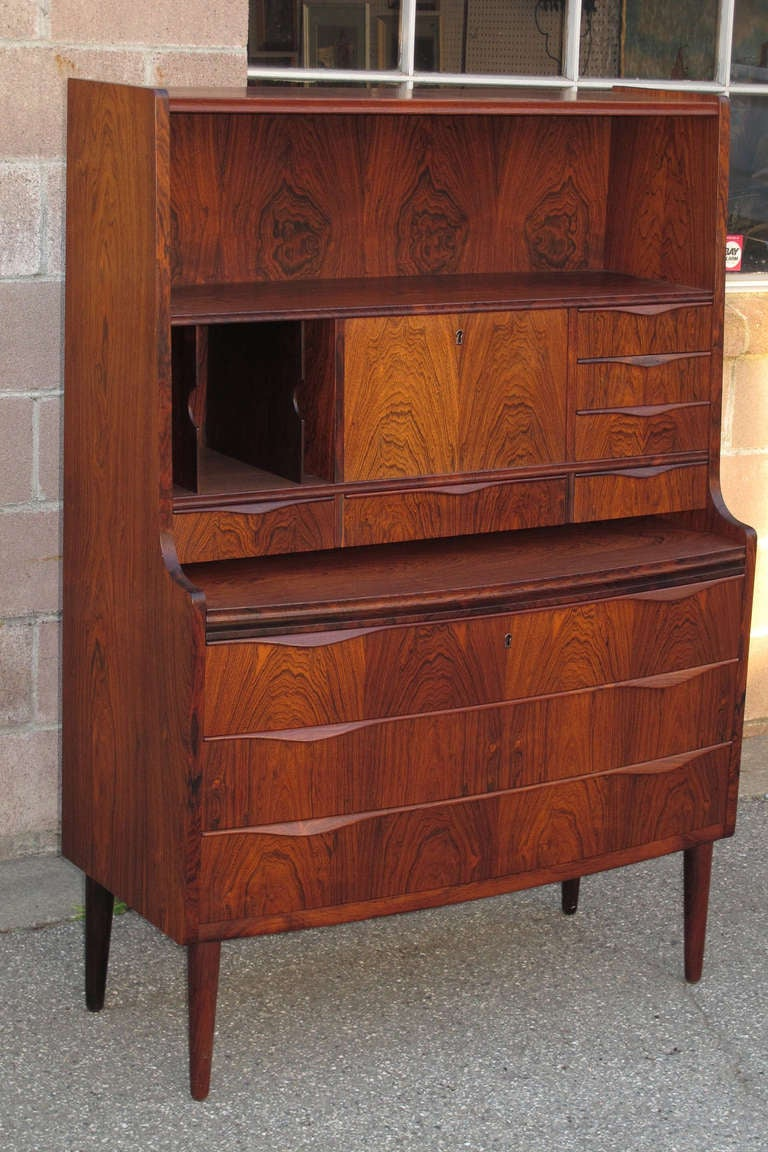 Danish Cabinetmaker Brazilian Rosewood Secretary Desk at