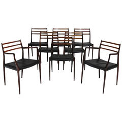 Eight Niels Otto Moller Rosewood Dining Chairs - Set/12 Available
