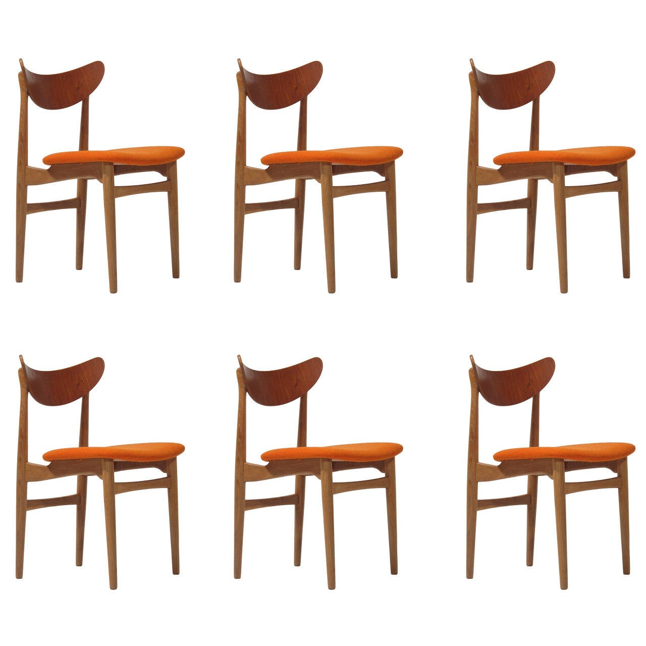 Amazing Danish Curved Back Dining Chairs At 1stdibs