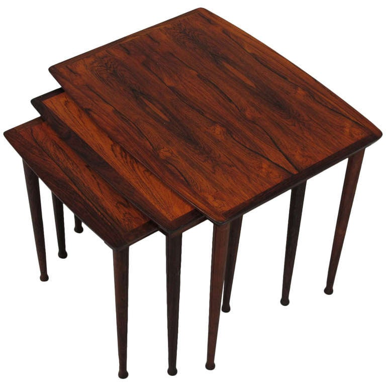 mid century rosewood nesting tables at