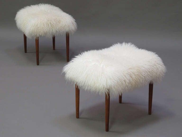 Mongolian Lamb Longhair Fur Ottomans 2