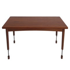 Hans Olsen Adjustable Height Danish Teak Dining or Coffee Table