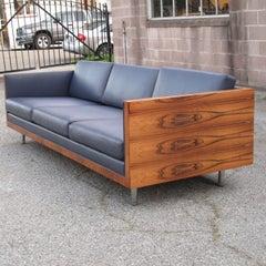Mid-century Milo Baughman Rosewood Leather Case Sofa