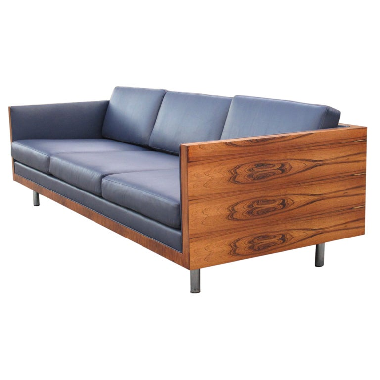 Mid Century Milo Baughman Rosewood Leather Case Sofa At 1stdibs