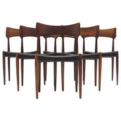 Six Bernhart Pedersen Danish Rosewood Dining Chairs