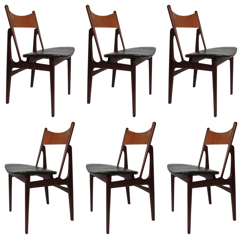 Six danish modern teak dining chairs for Danish dining room chairs