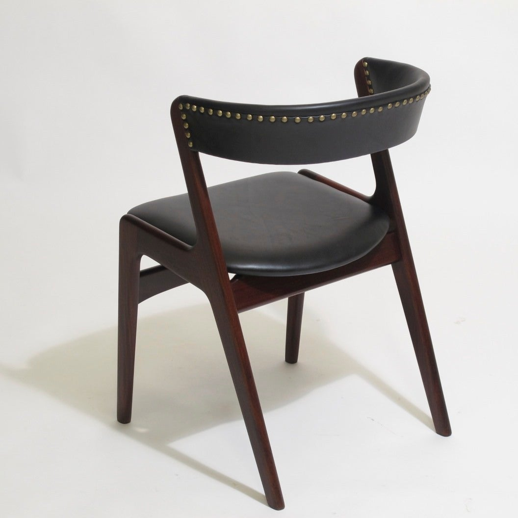 Ten kai kristiansen black leather danish dining chairs at 1stdibs - Kai kristiansen chairs ...