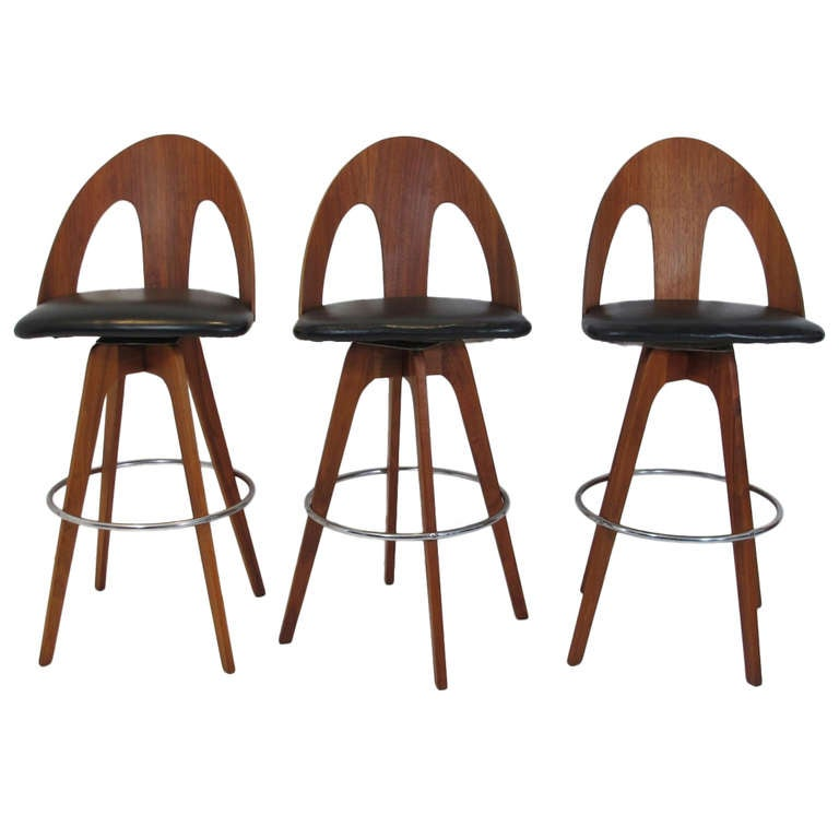American Mid Century Walnut Bar Stools At 1stdibs