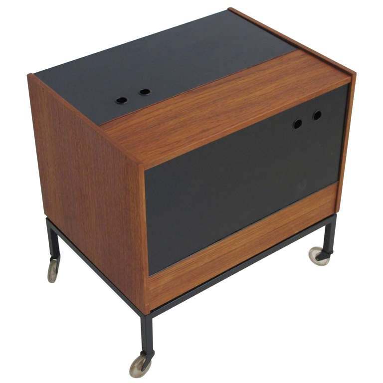 Danish teak folding dry bar cabinet at 1stdibs for Home dry bar furniture