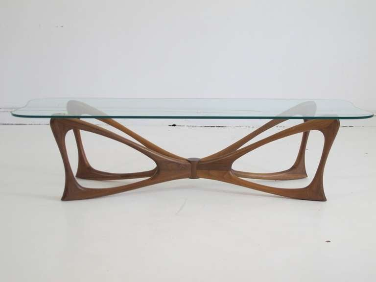 Dragonfly Walnut And Glass Coffee Table At 1stdibs