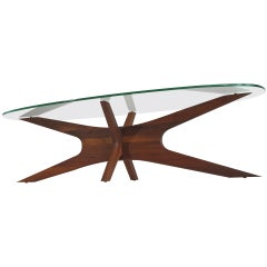 Adrian Pearsall Walnut & Glass Coffee Table