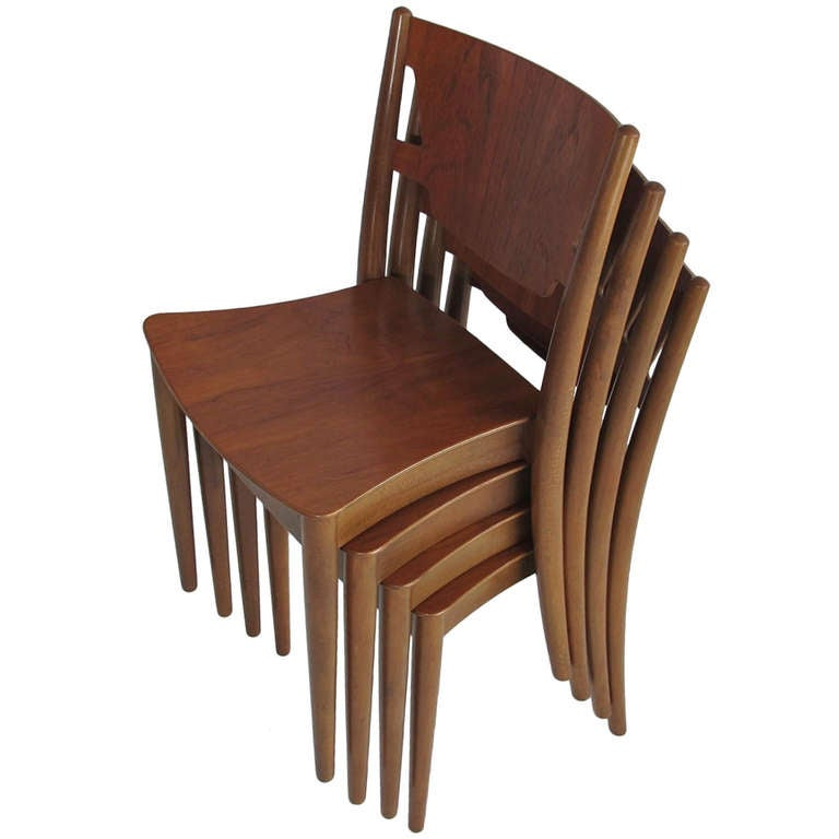 Four stacking chairs by peter hvidt for c m madsens at 1stdibs for M s dining room chairs