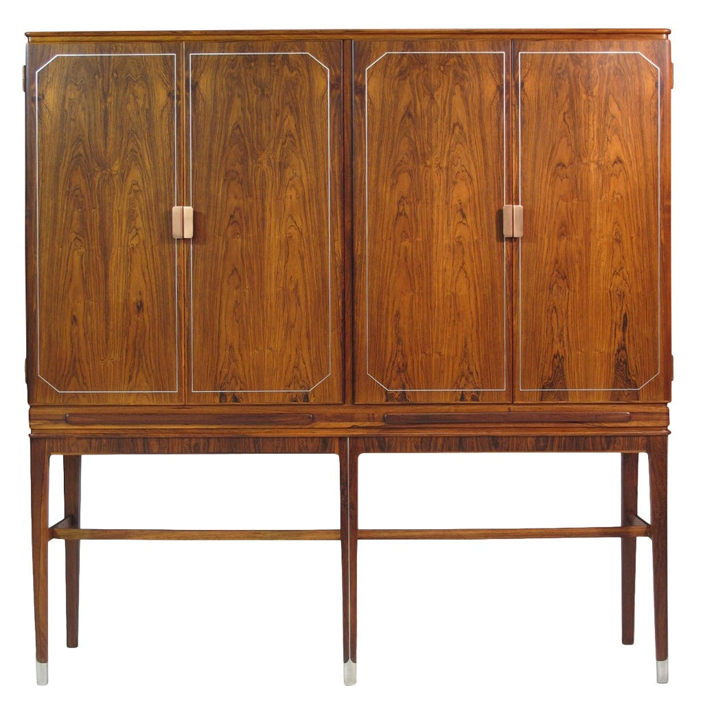 Georg Kofoed Rosewood Cabinet with Eight-carat White Gold Inlay