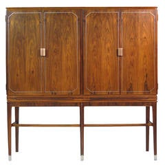 Georg Kofoed Rosewood Cabinet with Eight-Karat White Gold Inlay