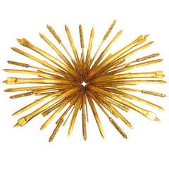 Hollywood Regency Gilt Sheaf of Wheat Coffee Table