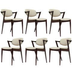 Six Rosewood Kai Kristiansen Danish Dining Chairs  14 Available