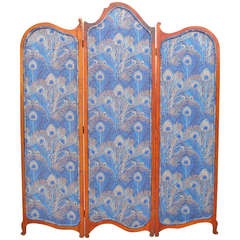 Mahogany William Morris Fabric Screen