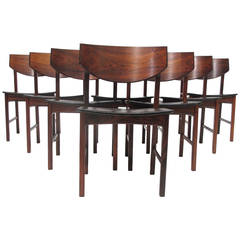 Eight Brazilian Rosewood Dining Chairs