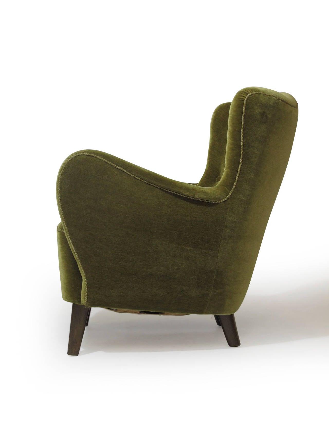 Scandinavian Mohair Club Chair At 1stdibs
