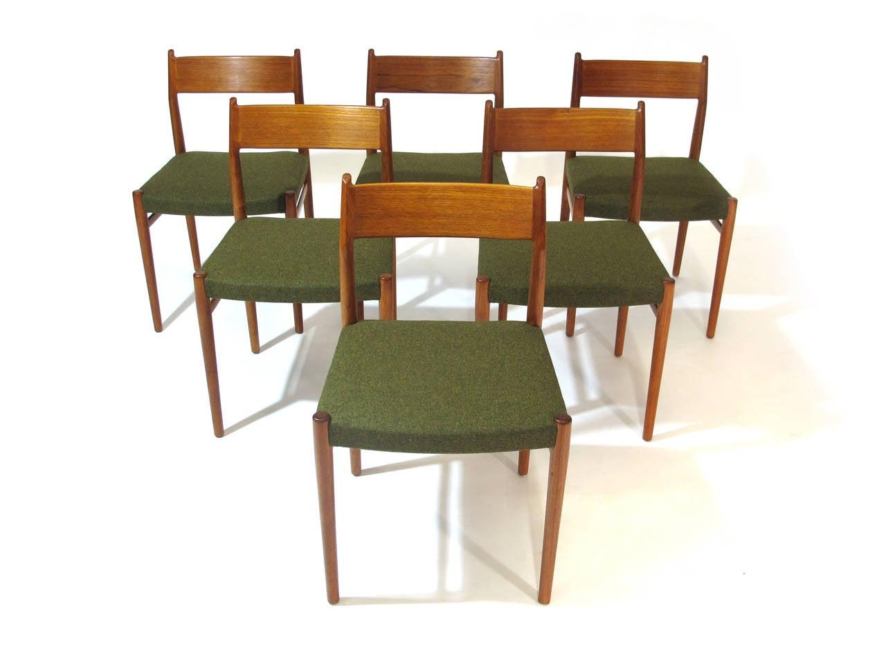 six arne vodder danish teak dining chairs at 1stdibs