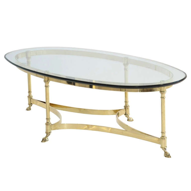 Elegant Brass And Glass Coffee Table: Elegant LaBarge Polished Brass Coffee Table At 1stdibs