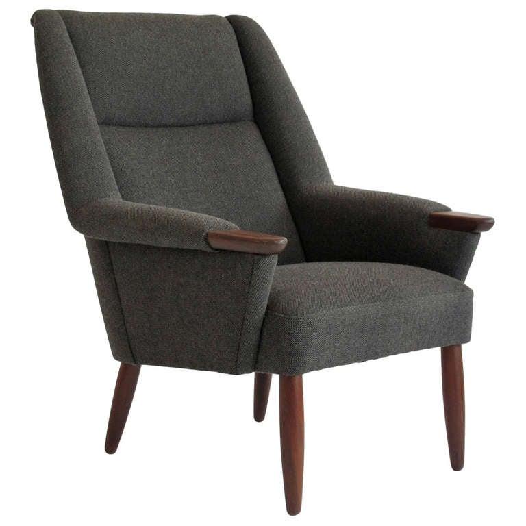 Danish Modern High Back Lounge Chair At 1stdibs