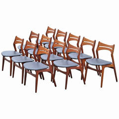 12 Mid-century Danish Dining Chairs by Erik Buck