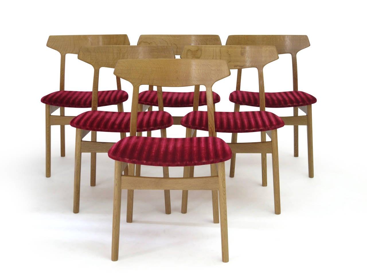 henning kjærnulf white oak danish dining chairs for sale at stdibs - henning kjærnulf white oak danish dining chairs