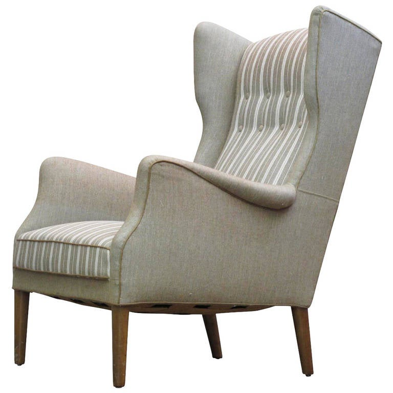 Charmant Danish Wingback Chair By Tage Wernersen For Christensen, 1947 For Sale