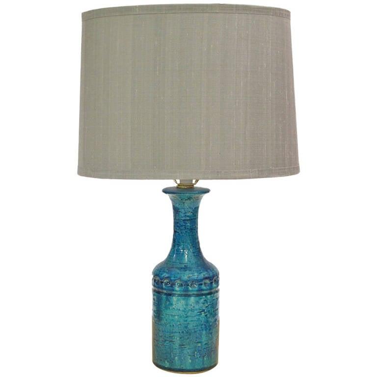 Danish Ceramic Lamp in Aqua Blue Glaze