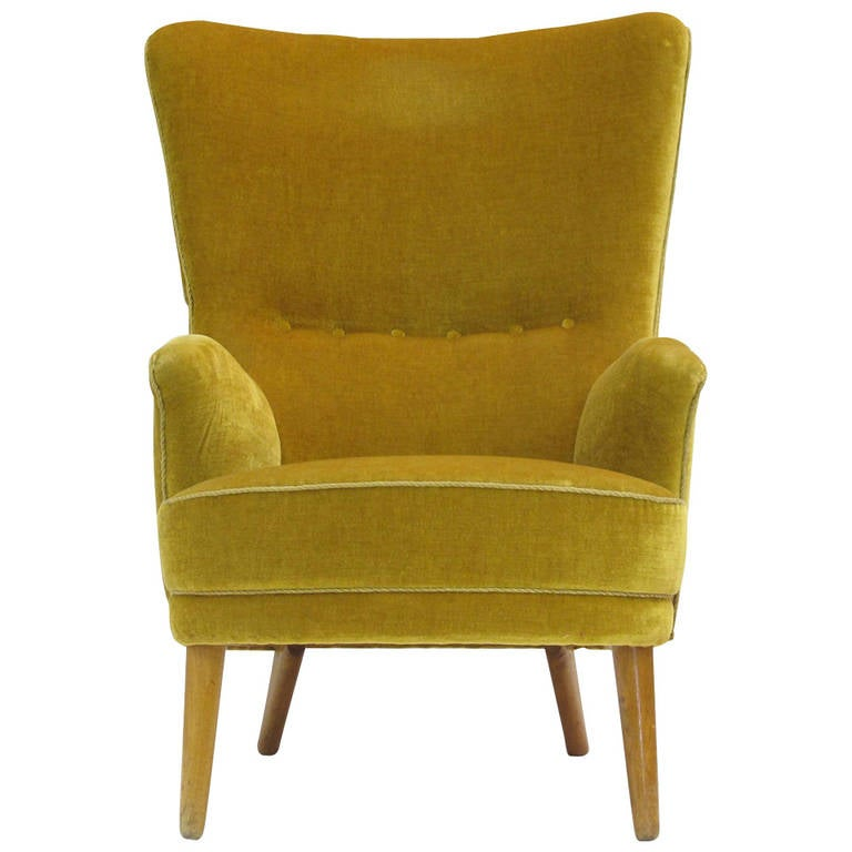 1950s Danish High Back Lounge Chair in Original Mohair at 1stdibs