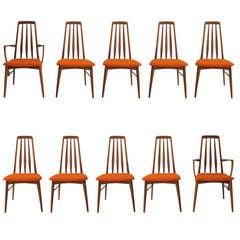 Set Of Ten Danish 'Eva' Dining Chairs By Niels Kofoed